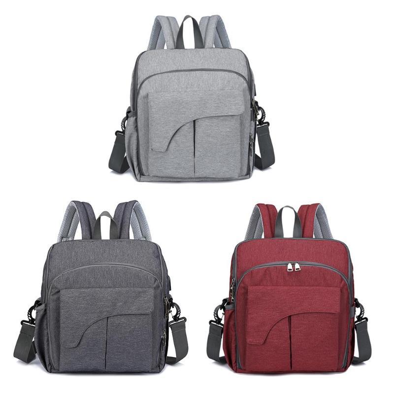 Waterproof Mummy Diaper Bags Multi-function Handbag Dining Seat Chair USB Port Maternity Nursing Bags Baby Nappy Travel Backpack