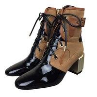 Женские ботильоны из натуральной кожи, модель 2018 года, обувь средней высоты, женская обувь на молнии с металлической декоративной отделкой,