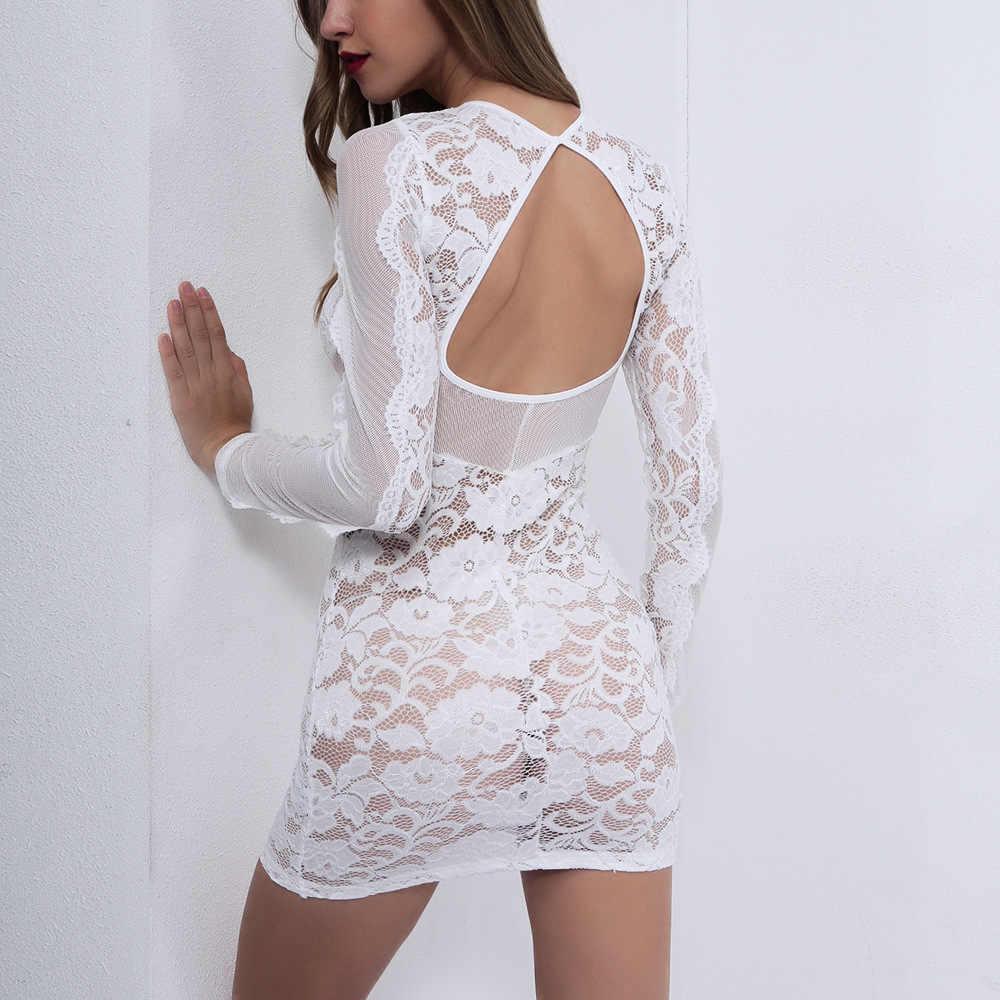 NewAsia hiver blanc dentelle robe femmes maille voir à travers dos nu Sexy robe moulante robe de soirée Club phares de rechange robes Vestido