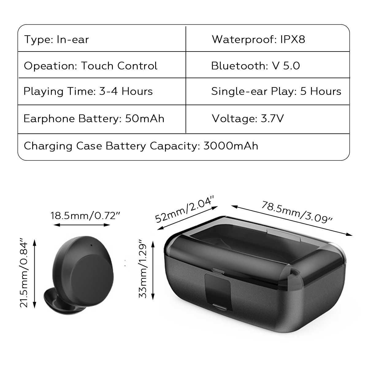 Bluetooth 5.0 tura bezprzewodowe słuchawki Mini słuchawki TWS bezprzewodowe stereofoniczne IPX8 sportowe pływanie zestaw słuchawkowy 3000 mAh skrzynka ładująca