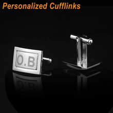 Customized Square Cufflinks Engraved Name Classic Wedding Business Party Custom Gifts For Mens Cuff-link Buttons CL-035 QiQiWu