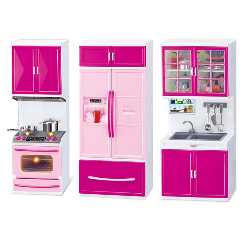 Kids Kitchen Pretend Play Cooking Sets 3 Cabinets Pink Cabinets For Children Simulation Kitchen Dollhouse Play Toy Girls Gifts