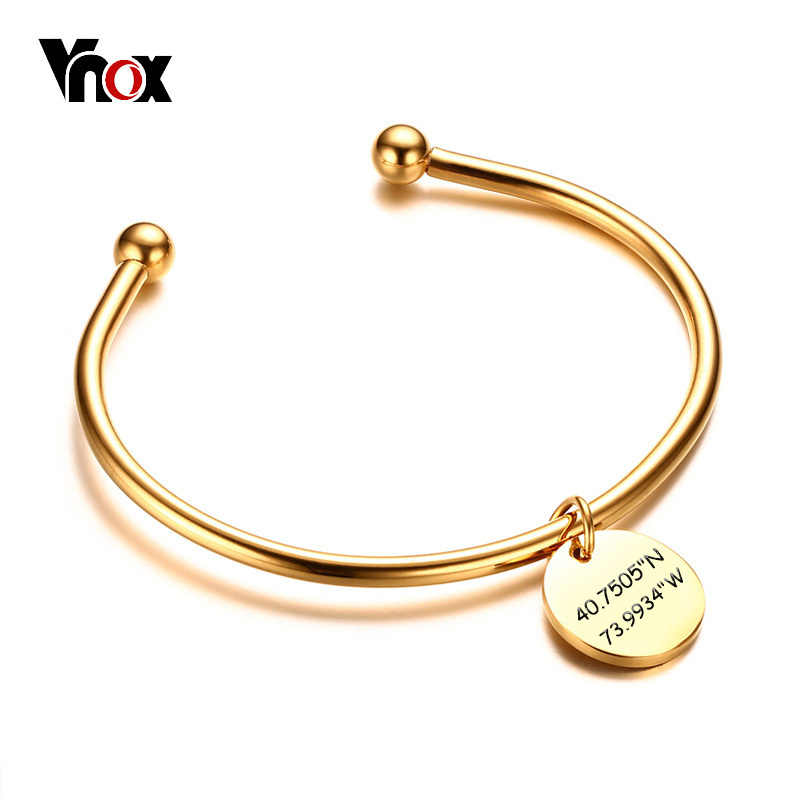 Vnox Free Engraving Laser Coordinate Info Bangle for Women Cuff Bracelet Stainless Steel Unique Female Elegant Party Jewelry