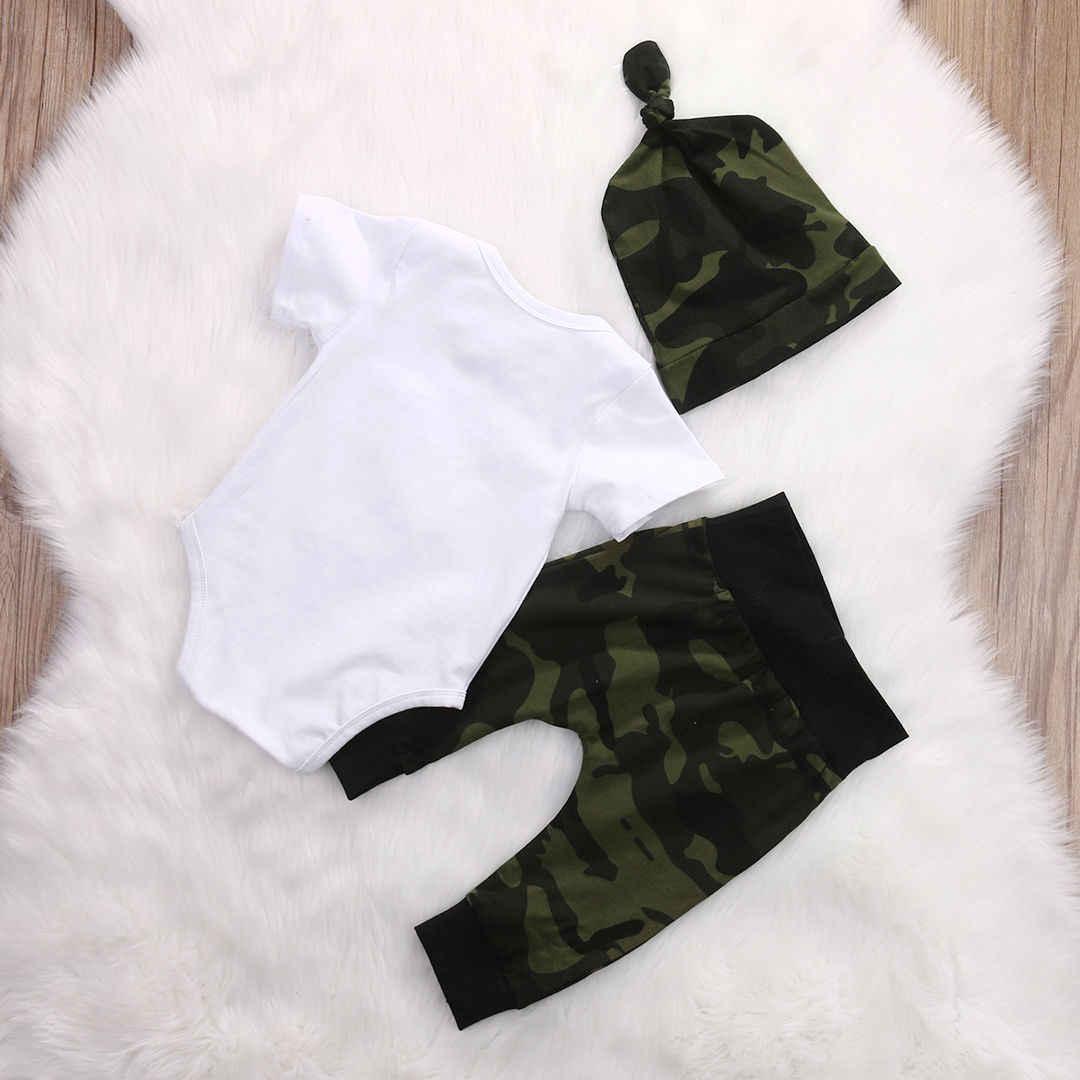 Camuflaje recién nacido Niño bebé niños ropa mameluco mono + sombreros y pantalones conjuntos conjunto de ropa de bebé Flecha de espera