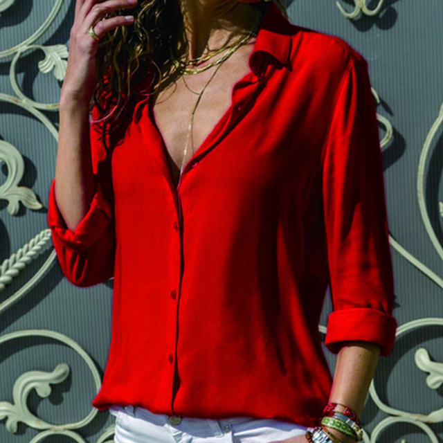 Gentillove-Blusa de manga larga de chifón para verano, camisa elegante con cuello en V de talla grande 3XL para mujer, 2019 3