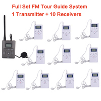Free Shipping FM Radio Tour Guide System Work With AAA Batteried For 1 Transmitter And 10 Receivers