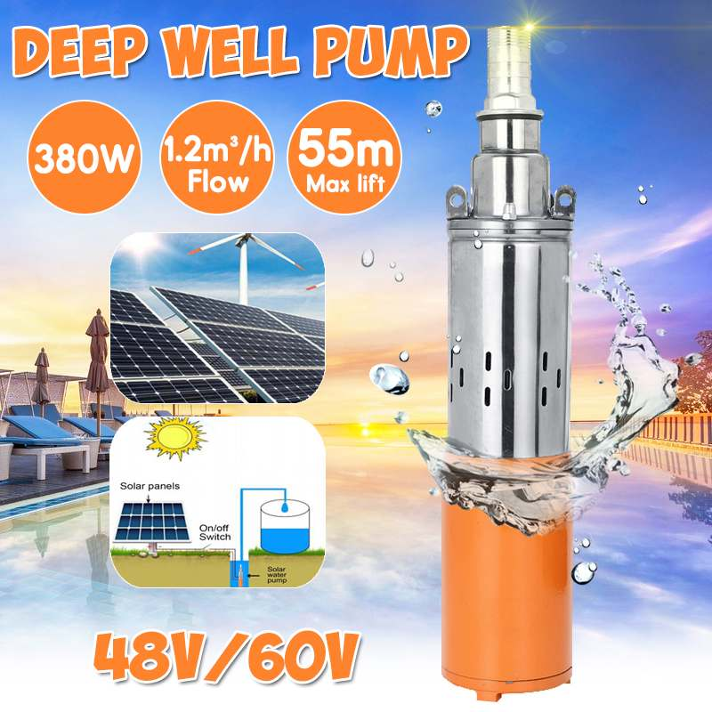 380W 48V 60V Solar Water Pump 55M Max Lift Deep Well Pump Solar Energy Submersible Water
