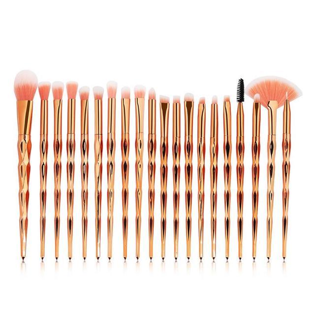 20PCS Diamond Shaped Fan Shaped Makeup Brushes Foundation Eyeshadow Eyeliner Contour Cosmetic Brushes Set Beauty Tool Kit Hot