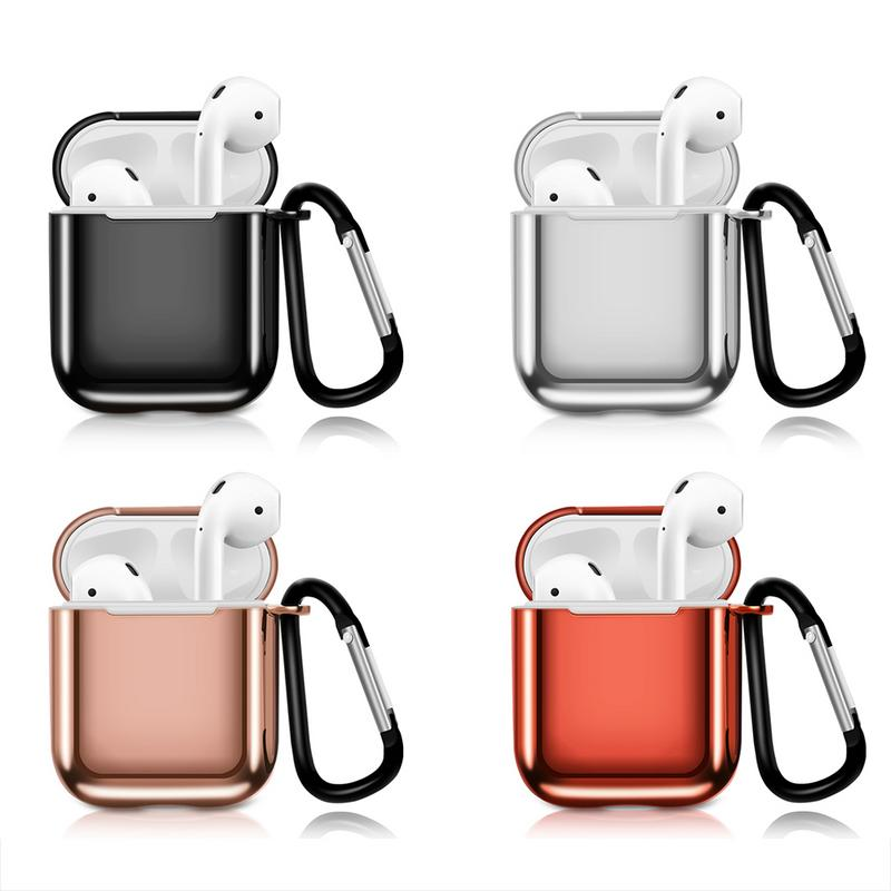 Plating Silicone Protective Case For Apple Airpods Earbuds TPU Color Plating Earphone Storage Case Holder Bag Rose Gold Black