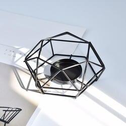 Геометрия маленький короткий держатель свечей Настольный металлический провод домашний декоративный подсвечник