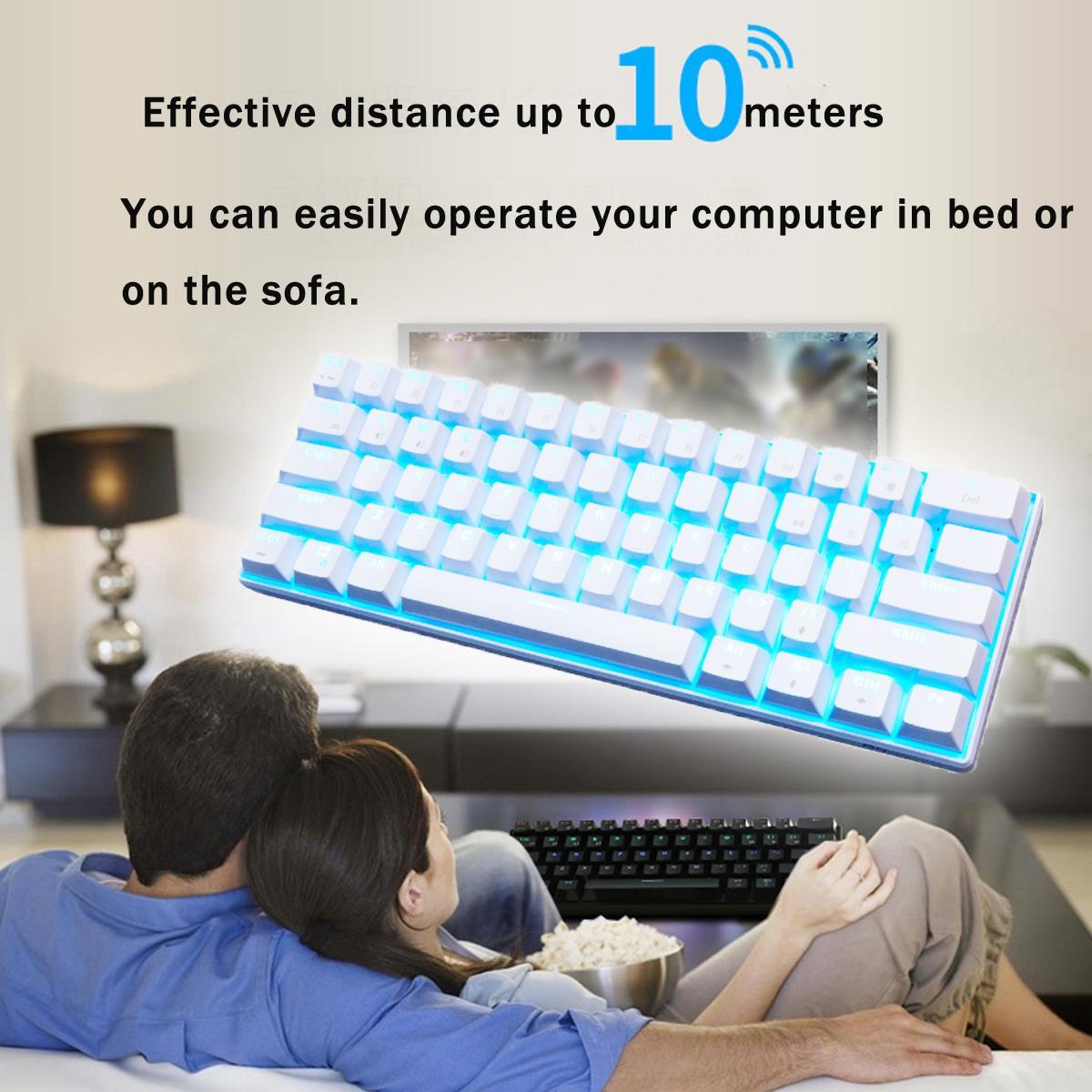 RK 61 Gateron commutateur RGB mécanique clavier de jeu LED bluetooth rétro-éclairé étanche pour la mise en page anglaise de bureau