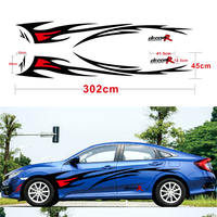 2 X Flame Graphics Car Styling BLACK & RED Color Car Sticker for Side Body Vinyl Sticker Waterproof