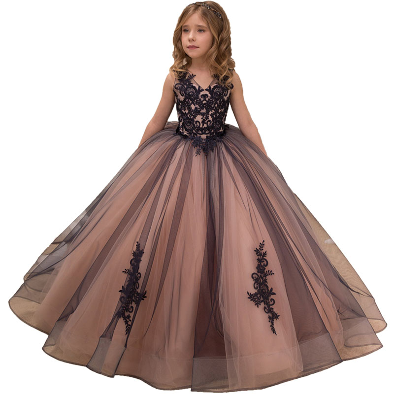 Little   Girls   Pageant   Dresses   Applique Long Kids Evening Ball Gowns Holiday Birthday Party Elegant Lace Tulle   Flower     Girl     Dresses