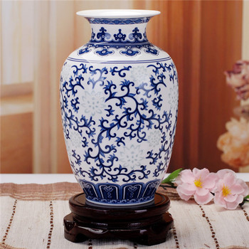 Jingdezhen Rice-pattern Porcelain Chinese Vase Antique Blue-and-white Bone China Decorated Ceramic Vase