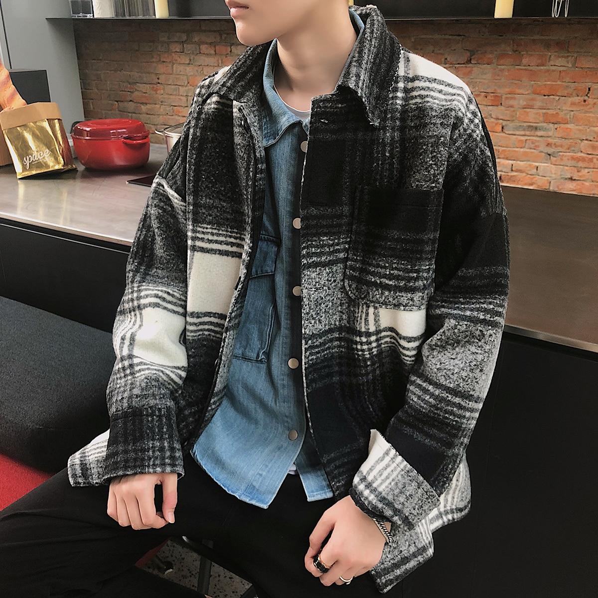 Ropa Suelta Vintage Black Down Moda Turn Estilo Celosía Coreana 2018 Collar  Hombres Invierno Ocio Mezclas coffee Chaqueta ... de93f149b31