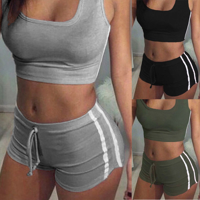 Fashion Women Sports Suit Crop Top+ Shorts Two-piece Outfit Yoga Workout Sportwear