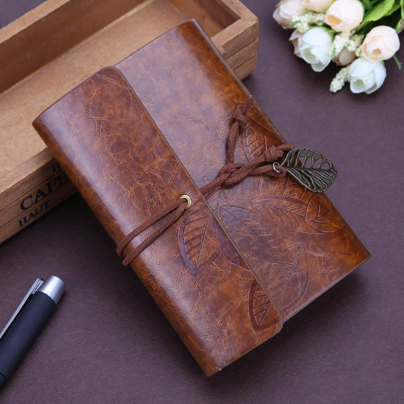 Retro Vintage Leather Cover Notebook Blank Diary Creative Leaves Student Leather String Diary Notepad Stationery Supplies