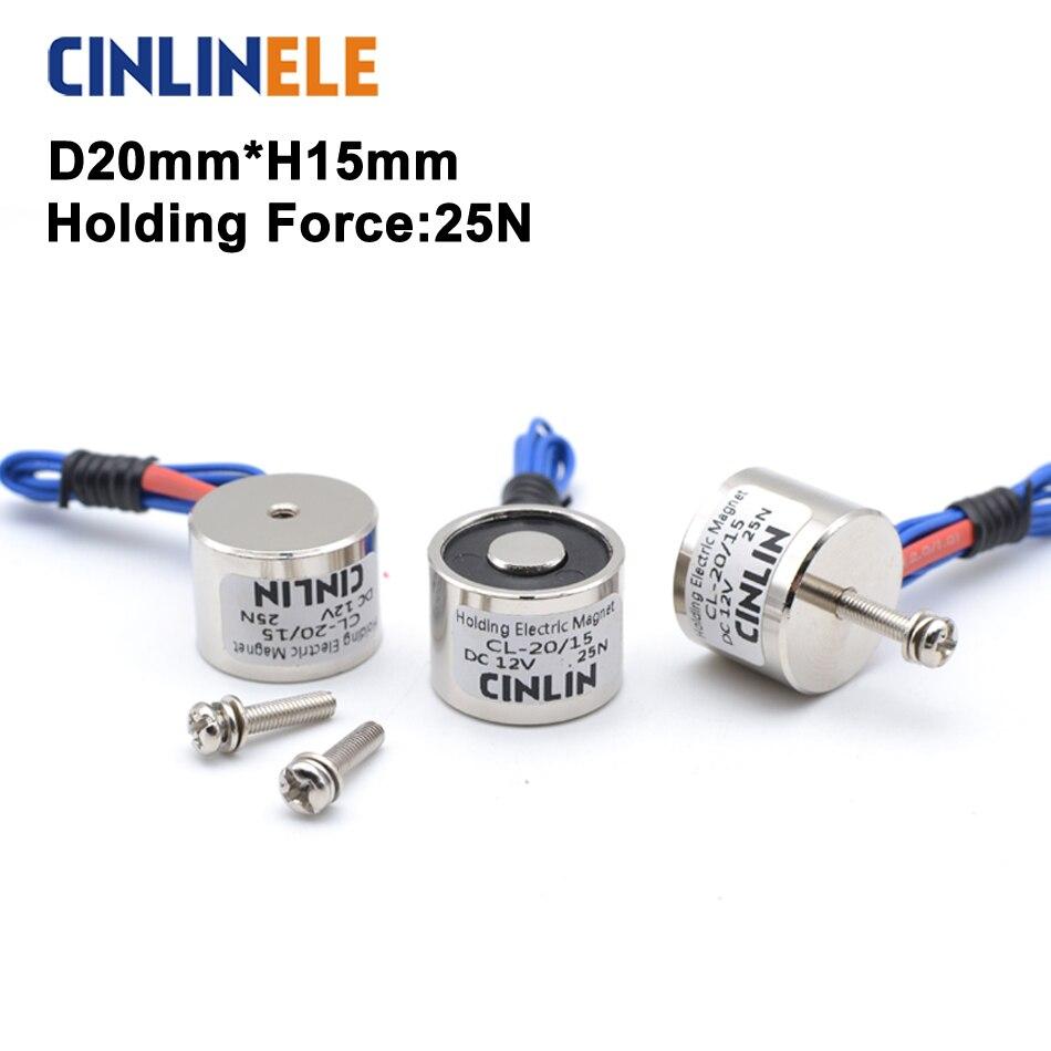 D20mm * H15mm 2.5 KG/25N tenant l'aimant électrique soulevant l'électroaimant de ventouse de solénoïde DC 6V 12V 24V Non standard personnalisé