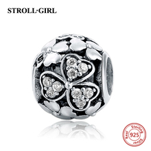 2017 NEW Style 100% Authentic 925 Sterling Silver Charms  Flower European Beads fit for Pandora bracelets Wholesale