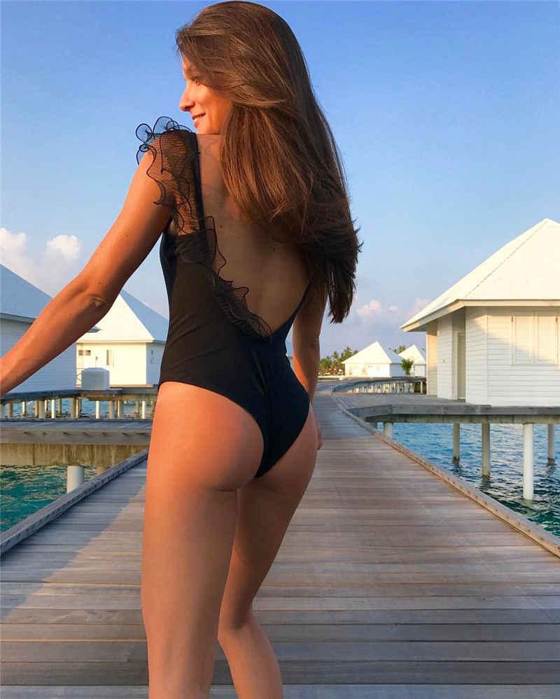 الدانتيل يصل بيكيني النساء 2018 قطعة واحدة بيكيني مثير السباحة زي ملابس السباحة رفع مبطن Biquini ثوب السباحة