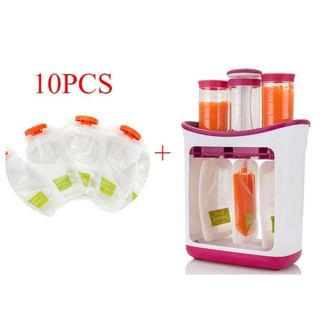 2019 New Infant Baby Food Containers Storage Baby Feeding Maker Kids Food Fruit Juice Packing Machine 10 x Squeeze Pouches