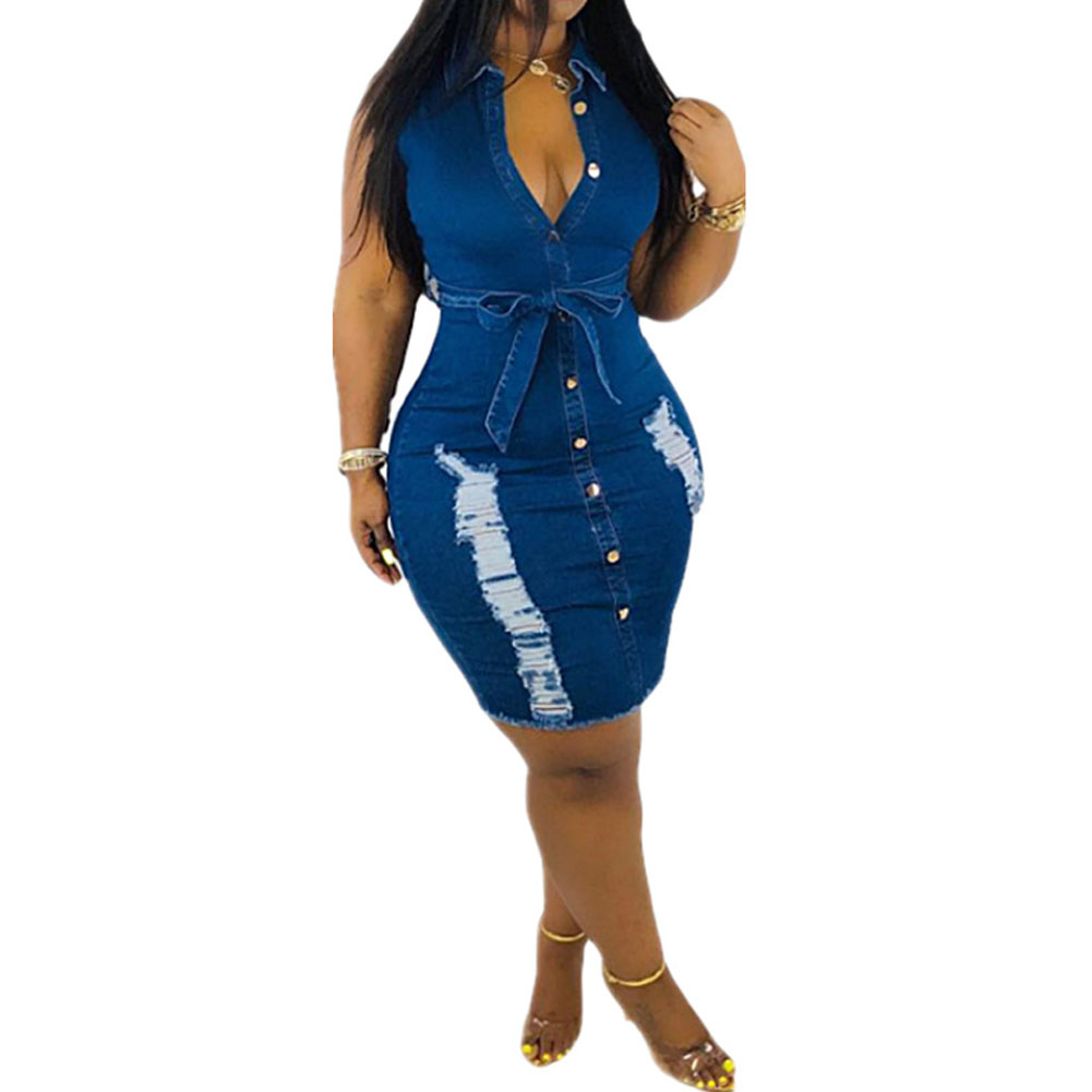 2019 fashion Denim <font><b>Dress</b></font> Women Sleeveless hole Demin <font><b>Jeans</b></font> Shirt <font><b>Dress</b></font> Clubwear Party Mini <font><b>Dress</b></font> Lady Fashion Casual <font><b>Dress</b></font> image