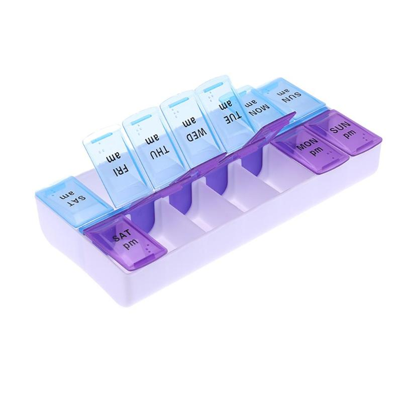 14 Grids 7 Days Pill Box Pastillero Drugs Weekly Pills Case Health Care Medicine Dispenser Storage Tablet Pill Box Splitters