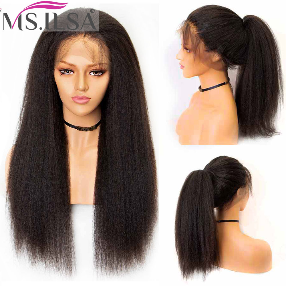 Brazilian Remy 360 Lace Frontal Wigs For Black Women Kinky Straight Hair Wigs Baby Hair Lace Front Human Hair Wig Pre Plucked