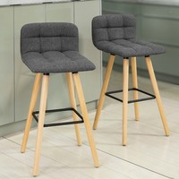 SoBuy FST50 DGx2 Set of 2 Kitchen Breakfast Barstool Bar Stool with Fabric Padded Seat