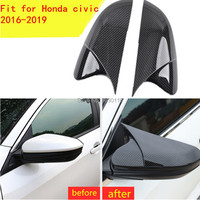 2pc Carbon fiber color ABS Rearview Mirrors Cover Cup trim fit for Honda Civic 2016 2017 2018 water transfer printing