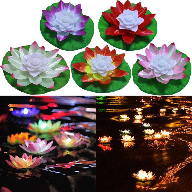 Floating Lotus LED Wishing Light Flower Lamps Swimming Pool Wishing Light 2018
