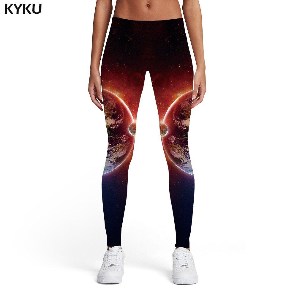 KYKU Galaxy Leggings Women Earth Ladies Flame Spandex Yin Yang Sexy Space Sport Womens Leggings Pants Casual Jeggins Funky