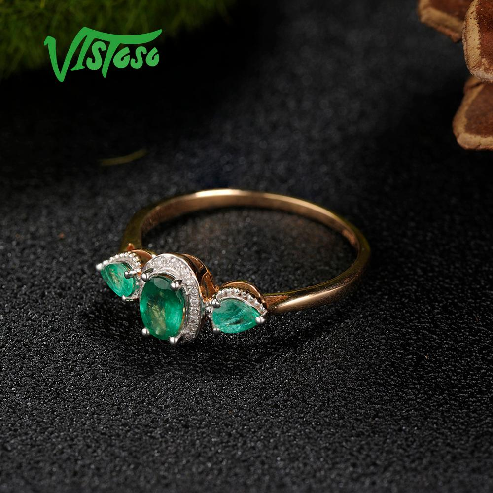 Image 5 - VISTOSO Gold Rings For Women Genuine 14K 585 Rose Gold Ring Magic Emerald Sparkling Diamond Engagement Anniversary Fine Jewelry-in Rings from Jewelry & Accessories