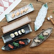 Japanese Style And Japanese Sushi Plate Snack Plate Ceramic Creative Rectangular Dish Personality Retro Tableware Set