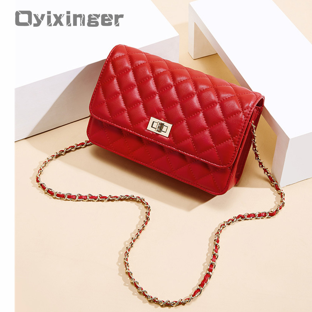 2019 Summer Cowhide Women Single Shoulder Bag Satchel Diamond Lattice Chain Small Square Package Woman Real Leather Red Flap Bag