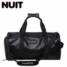 Woman And Man Portable Tote Bags Pu Leather Travelling Dry Wet Separation Large Capacity Male Handbags A Short Trip