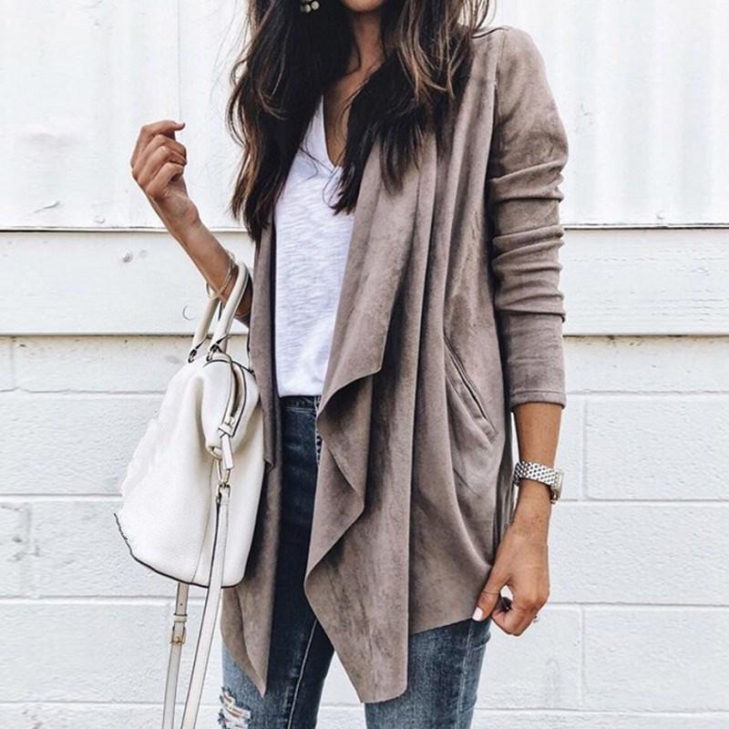 2018 Fashion Autumn Women Suede Faux Leather Jackets Turn-Down Collar Female Biker Bomber Asymmetrical Lapel Coats Tops