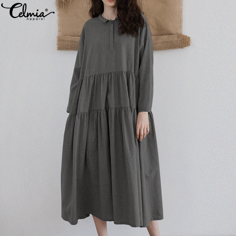 Celmia Autumn Women Retro Pleated Long Shirt Dress 2018 Casual Loose Long Sleeve Button Ruffles Vintage Cake Vestidos Plus Size