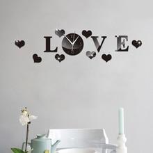 3D Wall Clock Mirror Sticker Mute Love Heart DIY Home Office Decoration WXV Sale
