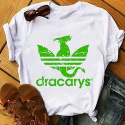 Daenerys smok camiseta Dracarys zabawna koszulka męska lato nowy biały dorywczo ma unisex tshirt fajne Harajuku street wear t koszula 5