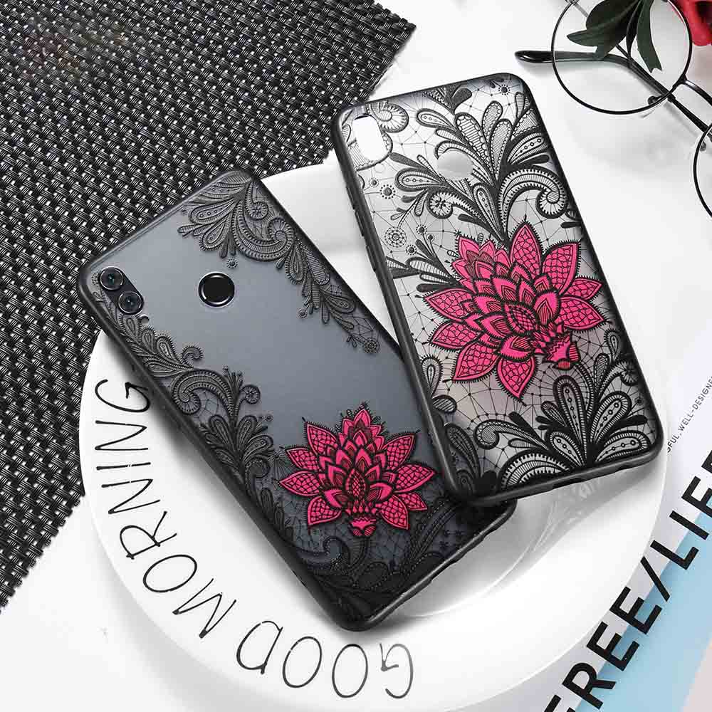 CASEIER Emboss Phone Case For Huawei P Smart 2019 P30 P20 Pro Lire Lace Flower Case For For Huawei Mate 20 10 9 Pro Lite Cover in Fitted Cases from Cellphones Telecommunications