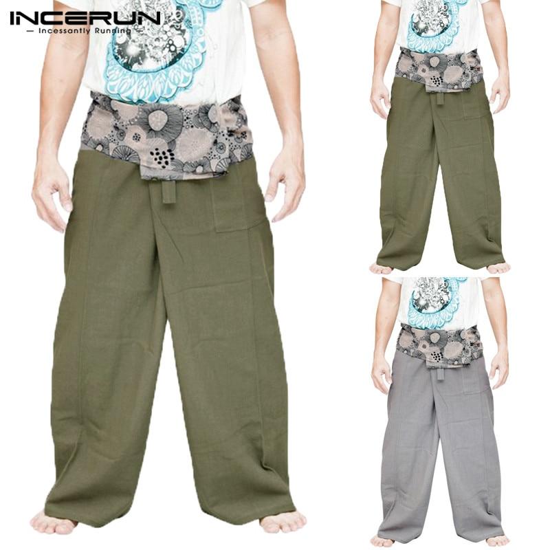 INCERUN Men Women Casual Pants Print Pockets Wide Leg Muslim Pants Trousers 2020 Vintage Loose Ladies Men Thai Fisherman Pants7