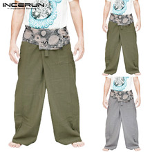 INCERUN Men Women Casual Pants Print Pockets Wide Leg Muslim