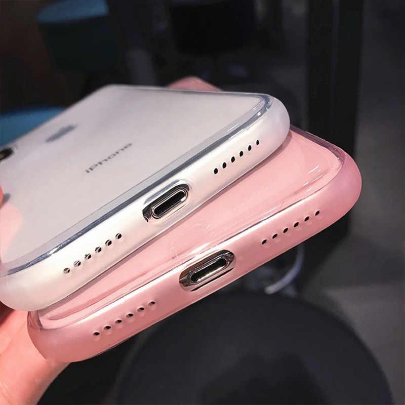 Lovecom transparente à prova de choque caso quadro para iphone 11 pro max xr xs max 6 s 7 8 plus x corpo inteiro macio tpu telefone volta capa