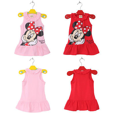 Children Cute Cartoon Dresses 2015 Summer Kids Baby Girls Red Pink Minnie Mouse Cotton Dresses Birthday Party Dresses image