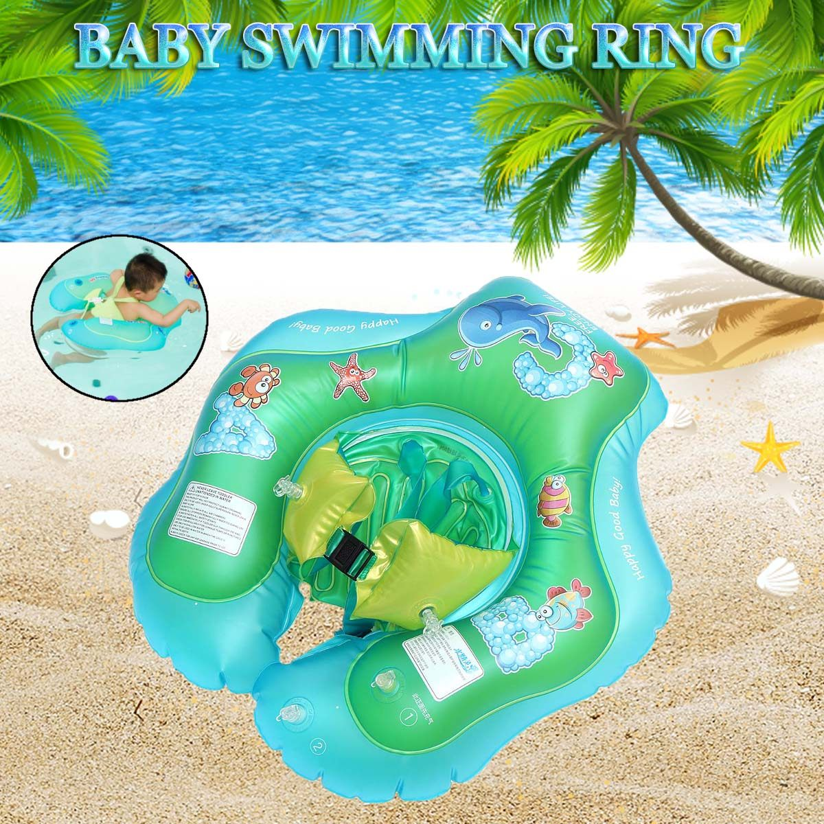 Inflatable Baby Swim Float Ring Flat Swimming Trainer Safety Neck Float Pool Water Fun Toy Kids Circle Safety Bathing Pool