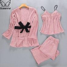 Queenral 3PCS Gold Velvet Pajamas Set Women Autumn Winter M XL Sleepwear Pyjamas Home Clothes For