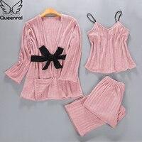 Queenral 3PCS Gold Velvet Pajamas Set Women Autumn Winter M XL Sleepwear Pyjamas Home Clothes For Women Sleep Suit Nightgown