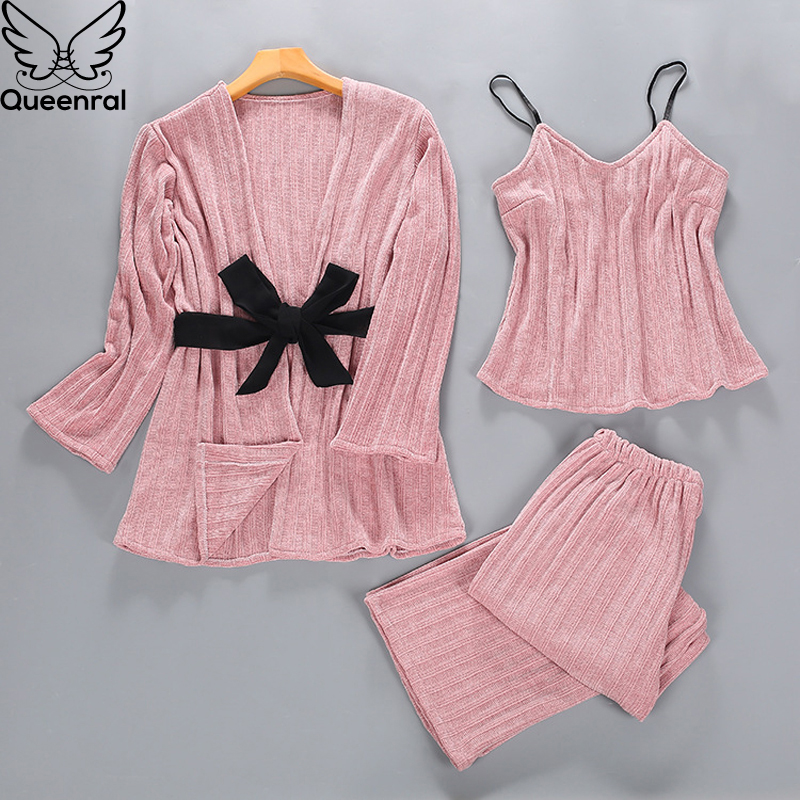 Queenral 3PCS Gold Velvet   Pajamas     Set   Women Autumn Winter M-XL Sleepwear Pyjamas Home Clothes For Women Sleep Suit Nightgown