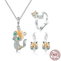 925 Sterling Silver Cute Crystal Fox Jewelry Set Dazzling Cubic Zircon Animal Jewelry Sets Women Jewelry ZHS072